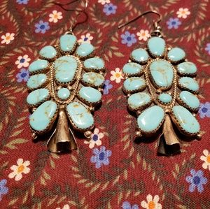 Turquoise Cluster Dangling Earrings